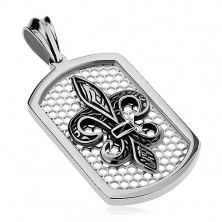 Pandantiv argintiu din oțel, plăcuță dreptunghiulară cu rețea și simbolul Fleur de Lis