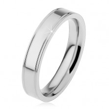 Inel argintiu din oțel, crestături longitudinale pe margini, 4 mm