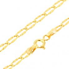 Brățară aur galben 14K - zale plate cu raze canelate, 180 mm