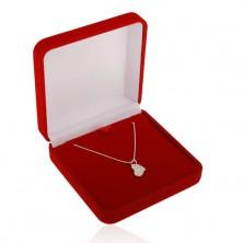 Cutiuță roșie de cadou pentru lanț sau colier, suprafață catifelată