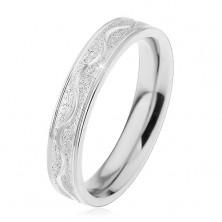 Inel argintiu din oțel, bandă sablată cu ondulații lucioase, 4 mm