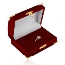 Cutiuță din catifea pentru set, bordo - cufăr, detalii aurii
