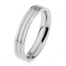 Inel lucios din oțel 316L de culoare argintie, două caneluri longitudinale, 4 mm