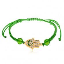 Brățară împletită din șnur de culoare verde, mâna lui Fatima, zirconii transparente, mărgele
