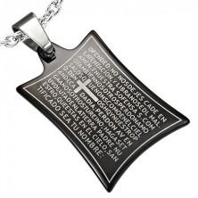 Pandantiv din oțel inoxidabil - rugăciune și cruce