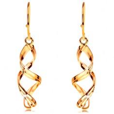 Cercei din aur 585 - spirale duble lucioase, tortițe africane