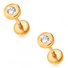 Cercei din aur 585 - forma rotunda cu un zirconiu transparent in montura