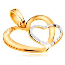Pandantiv realizat din aur combinat 585  - contur inima,bicolora si lucioasa