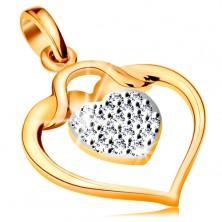 Pandantiv realizat din aur 585 - contur lucios in formă de inimă cu o inimă mică din zirconiu în interior