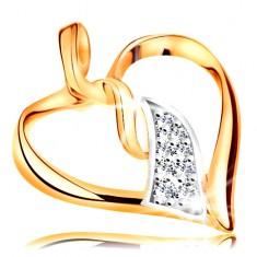 Pandantiv realizat din aur de 14k -contur inima lucioasa,valuri bicolore interconectate in mijloc