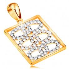Pandantiv lucios realizat din aur de 14K-cercuri din zirconii interconectate intr-un dreptunghi