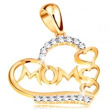 """Pandantiv realizat din aur 585-contur inima cu zirconii si inimi mici,inscriptie """"Mama"""""""