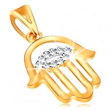 """Pandantiv realizat din aur galben de 14K- cu simbol protector """"Mana Fatimei"""", ochi din zirconiu transparent"""