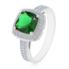 Inel din argint placat cu rodiu 925,zirconiu patrat ,verde si margine de zirconiu transparent