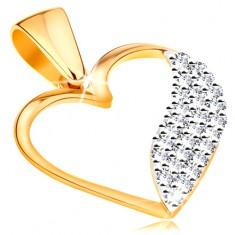 Pandantiv bicolor realizat din aur de 14K -contur in forma de inima,val lat compus din zirconii transparente