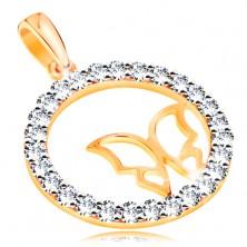 Pandantiv realizat din aur 585 - cercuri lucioase din zirconiu,contur ingust si lucios in forma de fluture