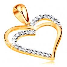 Pandantiv realizat din aur galben de 14K - contur dublu inima,linie din zirconii transparente