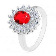 925 Inel realizat din argint cu zirconiu oval,rosu si zirconii transparente,placat cu rodiu