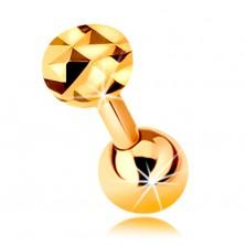 Piercing de ureche realizat din aur de 9K -haltera dreapta si lucioasa cu bila si cerc stralucitor, 5 mm