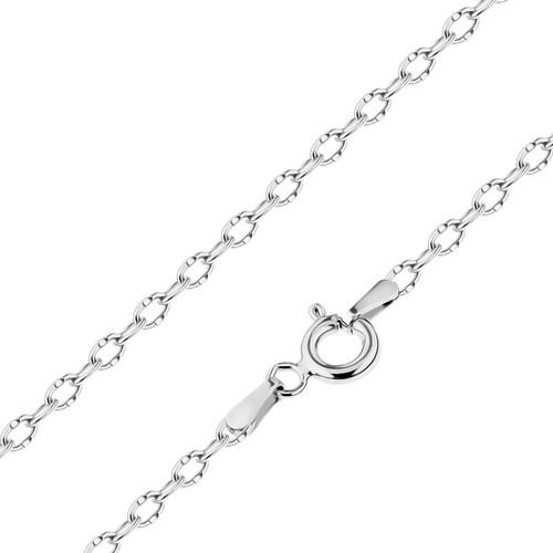 Bijuterii eshop - Lant lucios realizat din aur alb de 14K, zale ovale cu crestaturi mici, 450 mm GG186.12