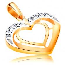 Pandantiv realizat din aur de 14K -doua contururi de inima in versiune bicolora, zirconii