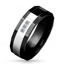 Inel realizat din oţel chirurgical,culoare neagră şi argintie,trei zirconii clare, 8 mm