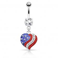 Piercing pentru buric realizat din oţel de 316L,inimă din zirconiu cu model cu steagul american