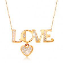 """Colier lucios realizat din aur 375  -lănţişor compus din zale ovale,inscripţie """"LOVE"""" şi inimă"""