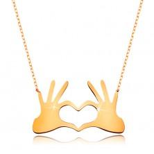 Colier realizat din aur galben de  9K  -inimă compusă din două mâini cu degete unite,lănţişor subţire