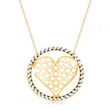 Colier realizat din aur 375 - lanţ compus din zale ovale,inimă decupată în cerc