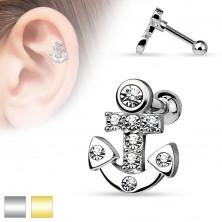 Piercing pentru tragusul urechii,realizat din oţel chirurgical,ancoră cu zirconii transparente