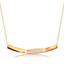 Colier realizat din aur de 9K -lanţ compus din zale ovale,linie lucioasă cu zirconii