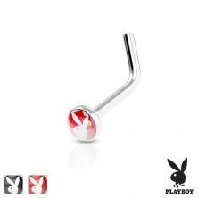Piercing îndoit,pentru nas,oţel 316L,cerc colorat cu iepuraş Playboy