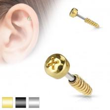 Piercing pentru tragusul urechii,realizat din oţel - imitaţie de şurub,diferite culori