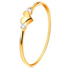 Inel realizat din aur de 14K - două zirconii transparente şi inimă lucioasă, proeminentă