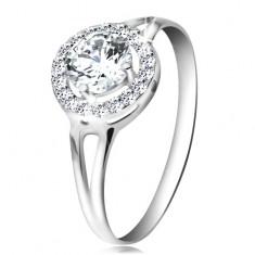 Inel realizat din aur alb de 14K  - zirconiu de culoare transparentă aliniat cu zirconii mici