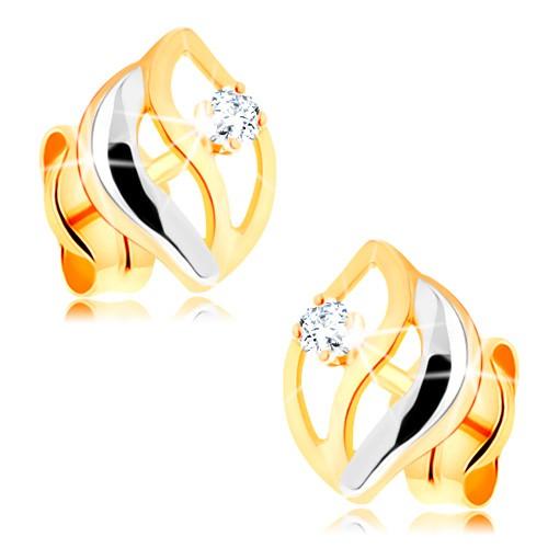 Bijuterii eshop - Cercei în două culori, realizaţi din aur de 14K - trei dungi ondulate, diamant  BT500.10