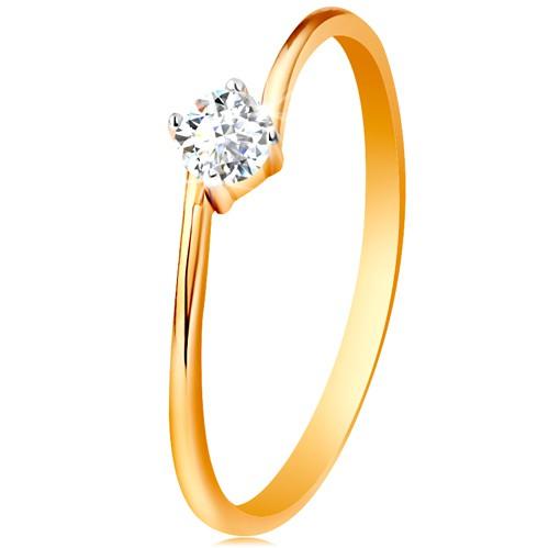 Bijuterii eshop - Inel din aur galben de 9K - zirconiu rotund şi transparent prins între capetele braţelor GG190.17/23 - Marime inel: 58