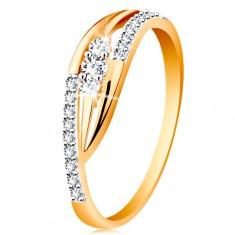 Inel din aur 585 - brațe lucioase curbate, linii strălucitoare și trei zirconii