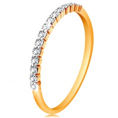 Inel din aur 14K - linie de zirconii transparente, brațe lucioase