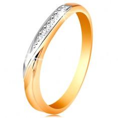 Inel din aur 585 - ondulație din aur alb și zirconii mici transparente