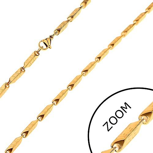 Bijuterii eshop - Lanţ auriu din oţel - zale unghiulare, late, cu model grecesc, 3 mm Z32.17