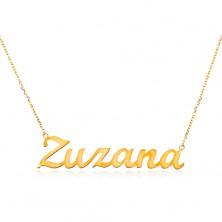 Colier din aur galben 585 - lanț subțire, nume Zuzana