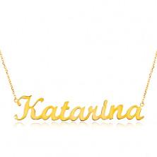 Colier ajustabil din aur de 14K, cu numele Katarina, lanț subțire