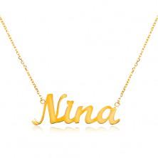 Colier din aur galben de 14K - lanț subțire, pandantiv - numele Nina