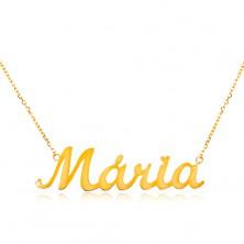 Colier din aur 585 - lanț subțire compus din zale ovale, pandantiv cu numele Maria