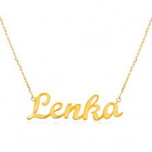Colier ajustabil din aur 585, cu numele Lenka, lanț subțire