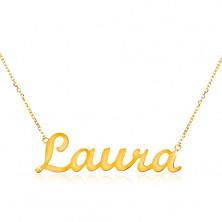 Colier din aur galben de 14K  - lanț subțire, inscripție Laura