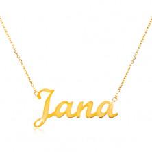 Colier ajustabil din aur de 14K, cu numele Jana, lanț subțire