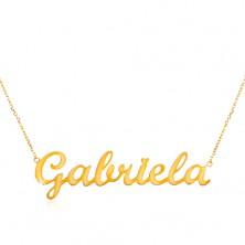 Colier din aur de 585 - lanț subțire compus din zale ovale, pandantiv cu numele Gabriela
